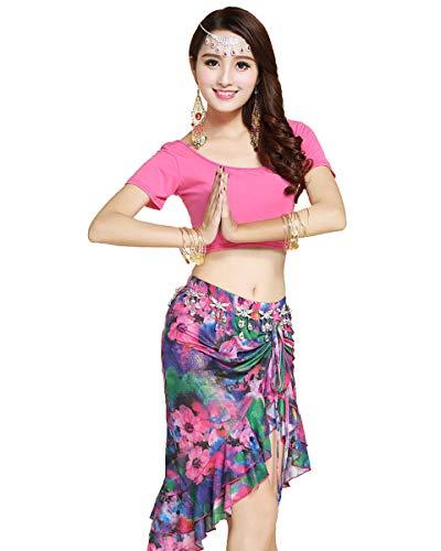Grouptap Stammes-Rosa Bollywood indische Bharatanatyam Zigeuner Volkstanz Kostüm Top Rock Kostüm Erwachsene Frauen Mädchen Tänzerin Outfit (Rosa, EU 34-40) (Einfache Indische Kostüm Für Erwachsene)