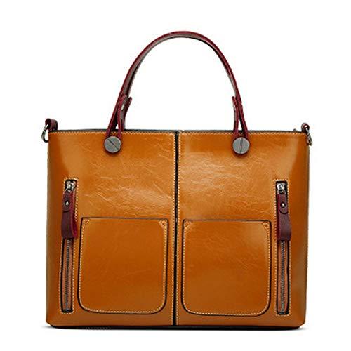 CX TECH Damenhandtaschen Einfache Ölwachs Lederhandtasche Große Kapazität Messenger Bags Umhängetasche für Damen Brown Echtleder Satchel Aktentasche Taschen Geldbörse Tablet iPad Tasche,Brown - Zeigen Satchel Bag