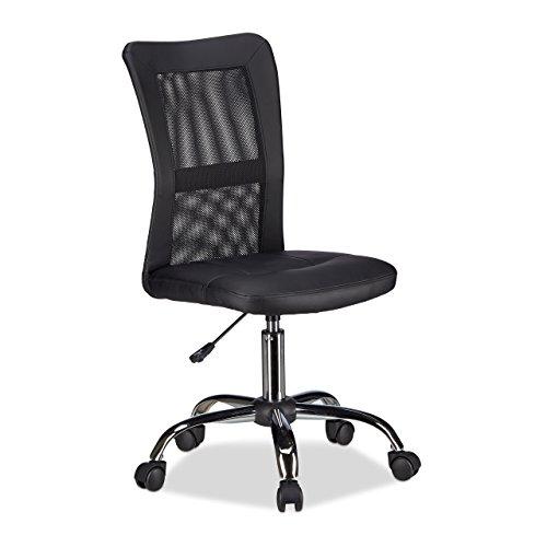 Relaxdays Bürostuhl, höhenverstellbarer Drehstuhl, ergonomisch, bequem, 90 kg belastbar, HBT: 102 x 55 x 55 cm, schwarz - Computer Büro Stuhl
