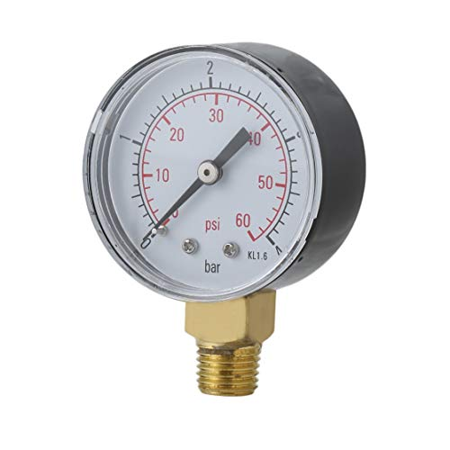 Kaemma Práctico Piscina SPA Filtro Manómetro de presión de Agua Mini 0-60 PSI 0-4 Bar Montaje Lateral...
