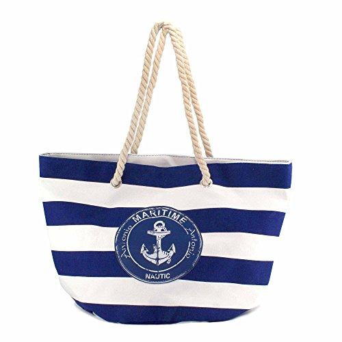 MC-Trend XL Strandtasche 54 x 35 x 36 cm Strand Tasche Beach Bag Shopper marine Streifen maritim blau Groß Big für Sommer Sonne Strand oder stylischem Shopper