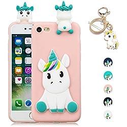 a0c8f7066ab Kawaii-Shop Funda iPhone 5 5S SE Silicona Cover, Rosa Unicornio 3D Squishy  Kawaii