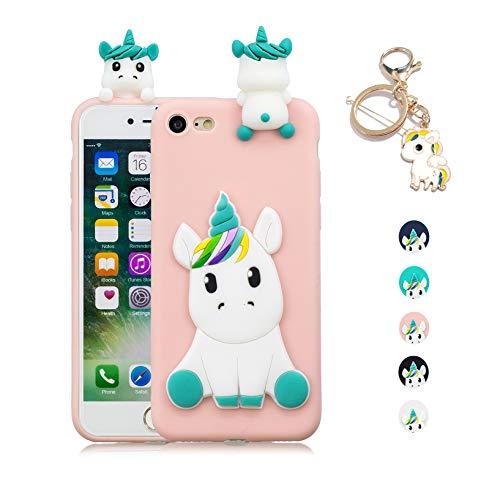 Kawaii-Shop Funda iPhone 7 8 Silicona Cover, Rosa Unicornio 3D Squishy Kawaii Juguete Toy Animal Carcasa Inquebrantable Shell para Chicas+Llavero de Unicornio