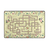 Orediy Soft Rugs Floral Maze Puzzle Games Lightweight Area Rugs Kids Playing Floor Mat Non Slip Yoga Rug for Living Room Bedroom