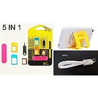 Nido del Bimbo 983 - [BIANCO] Kit iPhone iPad Apple - Estrattore Sim + Adattatore Sim Nano e Micro + Limetta Sim + Supporto Cellulare richiudibile (Colore Random) + Portachiavi Cavo Dati Ricarica USB a Scomparsa