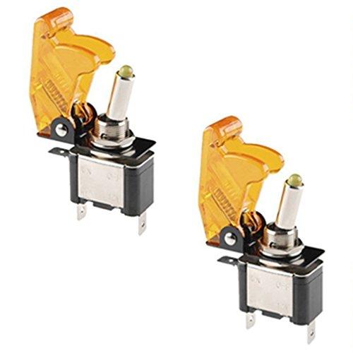 Qiorange 5x Kill Switch Auto Lastwagen KFZ Boot 12V 20A Gelb LED Kippschalter Schalter LED Licht Schalter EIN/AUS (Gelb 2 Pcs)