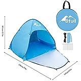 Bfull Strandzelt, Extra Leicht Automatik Strandmuschel mit Boden Sonnenschutz UV-Schutz, Familie Tragbares Strand-Zelt in Blau, Outdoor Beach Tent Tragbar