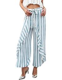 Falda Pantalon Mujer Largo Verano Elegante Flecos Cintura Alta Volantes  Culotte Fiesta Estilo Pantalones Palazzo Strappy ccfcf0f48c3c