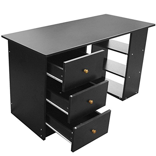 tinkertonk 3 drawer computer desk wooden home office table work stations amazoncouk office products black office desk