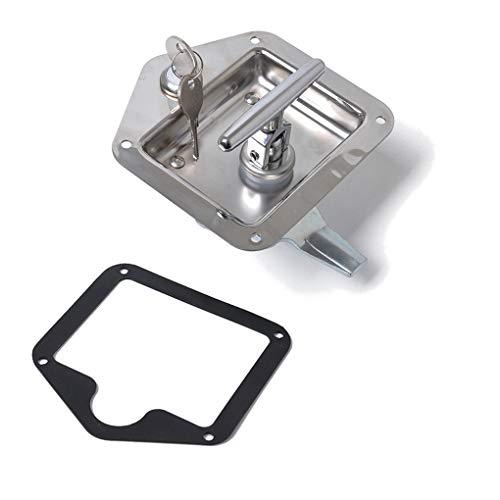 Uzinb Folding T Handle Lock Stainless Steel Flush Mount Tool Box Trailer Caravan Truck Toolbox - Flush Inside Mount
