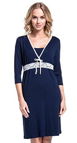 Happy Mama. Damen Umstands-Nachthemd mit Stillfunktion. Stillshirt 3/4-Arm. 255p Marine