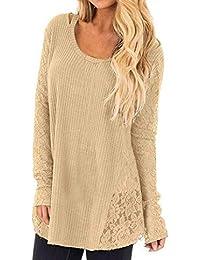 Herbst und Winter Damen Lang Pulli Rundhals Langarm Sweater T-Shirt  Oberteile Mode Spitzen Splice Pullover Tops… 0be16f95e5