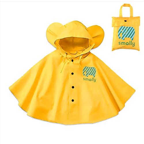 Gudotra pioggia incappucciati antipioggia poncho con cappuccino giacche per la pioggia giallo impermeabile unisex per bambino bambini 1-5 anni