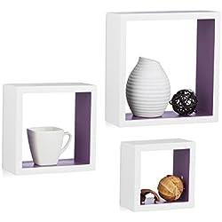 Relaxdays Étagère à Suspendre Lot de 3 Cubes Support Mural Meuble Rangement Bois carré, différentes Tailles, Blanc-Violet