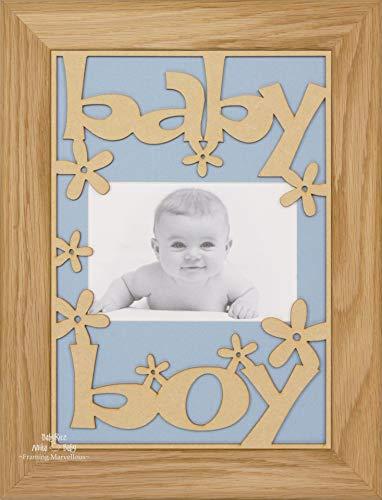 BabyRice Baby Boy Geschenk Holz Gestell massiv Eiche-Halterung Farbe wählen blau -
