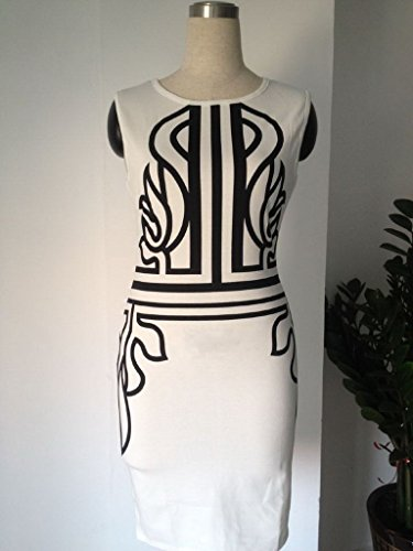 Smile YKK Sommer Damen Knielanges Business kleid Bodycon Kleid Etuikleid Schlauch kleid Cocktailkleid Aermellos Weiß