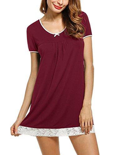 UNibelle Camicie da Notte Donna Comodo Semplice Pigiami Camici Vestaglia Accappatoi Camicia da Notte Manica Corta Scollo U Rosso L