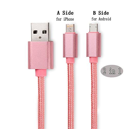 2 in 1 Cavo Lightning [per IOS e Android] , Aomo nylon Micro USB Cavetto Ricarica Cavo Dati [0.7 ft] [Due facciate] compatibile con iPhone 7 / 7 Plus / 6s Plus / 6 Plus / 6s / 6 / 5s / 5,Samsung, HTC, oro