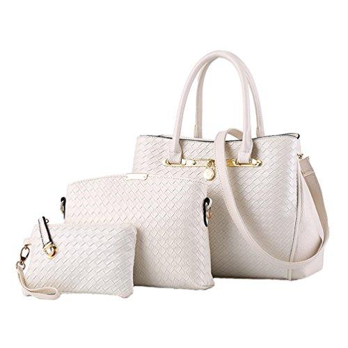 YAANCUN Donna Elegante Da Donna Cerniera Design Handbag Shoulder Bag Tote Bag 3 Pezzi Bianca