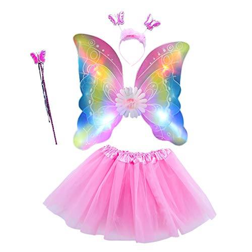 EZSTAX 4pcs LED Leuchtend Schmetterling Kostüm Halloween Cosplay Prinzessin Elfe Flügel mit Zauberstab für Party Karneval Fasching Fastnacht Halloween,Rosa ()