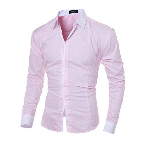 Honghu Herren Regular Fit Langarm Button-down Klassischer Hemdkragen Business Hemden Größe 2XL Rosa