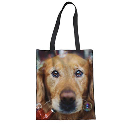 SHOUTIBAOBAO Handtasche Leinwand,3D Bubble Hund Print Canvas Tote Bag Frauen Umhängetaschen Wiederverwendbare Folding Shopping Bag Portable Beach Fashion Freizeit Reisetasche -