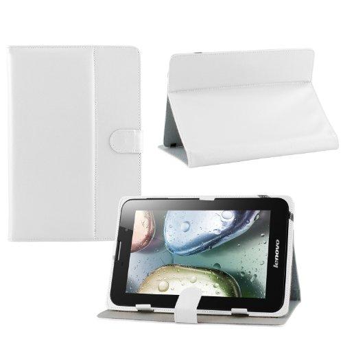 iprotect Kunstledertasche für Lenovo Tablet Schutz Hülle Case mit Stylus Pen für IdeaTab A3000 7 Zoll weiß