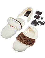Thermo suelas caliente Zapatillas con diseño de colour blanco y azul, colour blanco/marrón de la solapa de invierno, L, colour negro