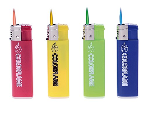 Sturmfeuerzeug Feuerzeug Color Flames 4 St&uumlck - Flammenfarbe in Feuerzeugfarbe