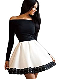 Ovender® Vestiti Eleganti Corti Mini da Donna Ragazza Abito Vestito Donne  Ragazze Impero Formale Elegante 7ecf6984042