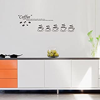 Asenart Art Design 5Kaffeetassen und Englisch Zitat Wand Aufkleber 66x 73,7cm