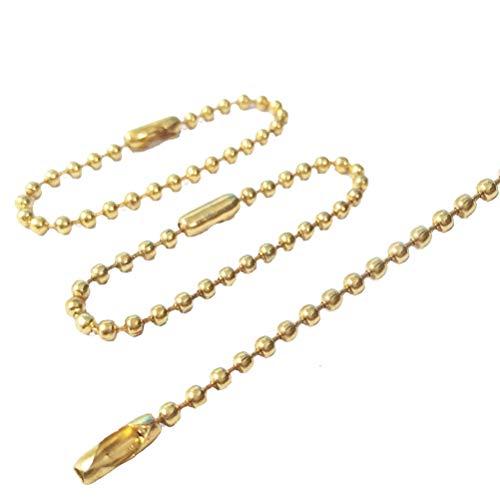 Heallily 100pcs lungo bead connettore catenaccio portachiavi fai da te tag portachiavi a sfera catena di metallo regolabile in acciaio perlina (d'oro)