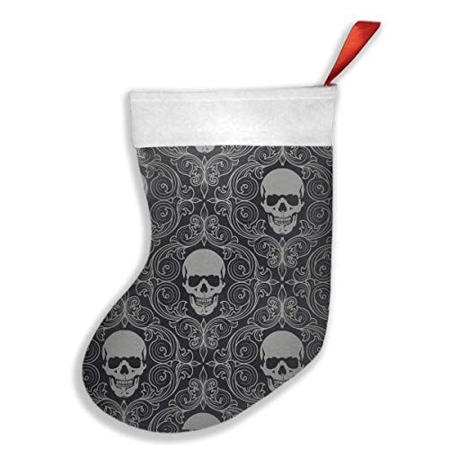 (Jiayou J Fashion Cool Skull Patter Christmas Stockings Snowman Santa Reindeer Christmas Stockings Gift and Treat Bag for Favors and Decorating Ornaments)