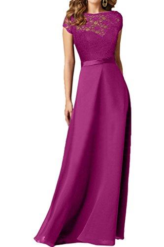 Ivydressing Damen Hochwertig Schleifer Rueckenfrei Chiffon&Spitze Partykleid Promkleid Festkleid Abendkleid Fuchsie