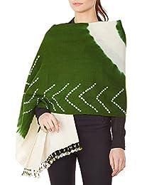 Cadeaux Crème Vert femmes accessoire châle indien main laine Tie-dye pour l'épouse 36x80 pouces