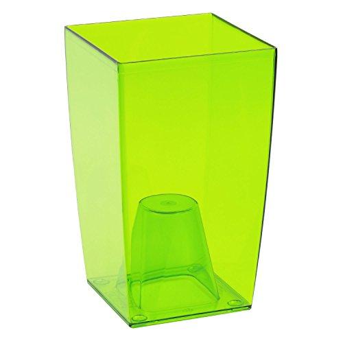 Coubi Tower Blumentopf/Vase, transparent, plastik, transparent / Grün, 12x12x20 cm