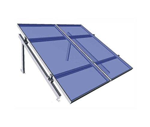 Estructura de aluminio para la instalación de paneles solares en superficie plana. Rango de inclinación entre 20 y 45 grados.