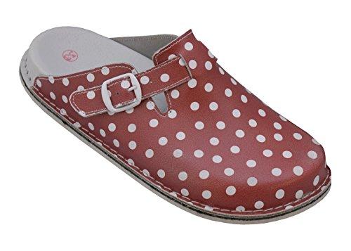 Relaxen Damen Hausschuhe Orthopädisch mit Feste Sohle aus Leder Frühling Sommer Arbeit Schuhe (36, Rot mit Punkten)