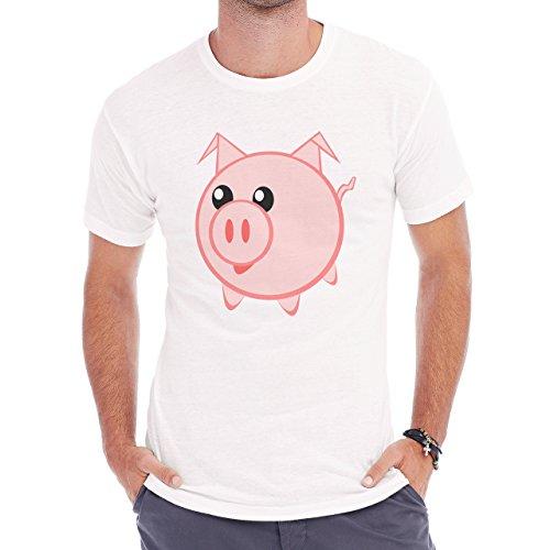 Pig Animal Farm Hog Smile Herren T-Shirt Weiß