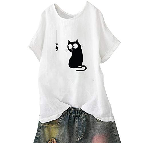 5dc99bd3318e Maglietta Camicetta Donna Elegante Le Donne Allentano La Stampa Del Gatto  Più Le Camice Della Camicia