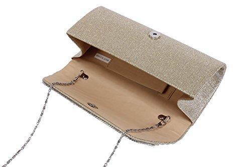 Damara® Damen Glanz Kunstperlen Crystal Pailletten Handtasche Silber