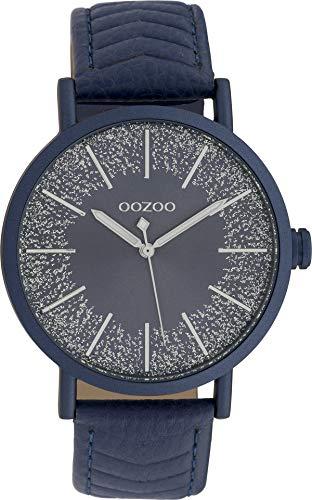 Oozoo Damenuhr mit Glitzer Zifferblatt und Struktur Lederband 42 MM Dunkelblau/Dunkelblau/Dunkelblau C10147
