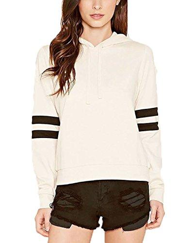 Minetom Femmes Printemps Automne Mode Sweat À Capuche Court Sweatshirt Avec Cordon De Serrage Hoodies white