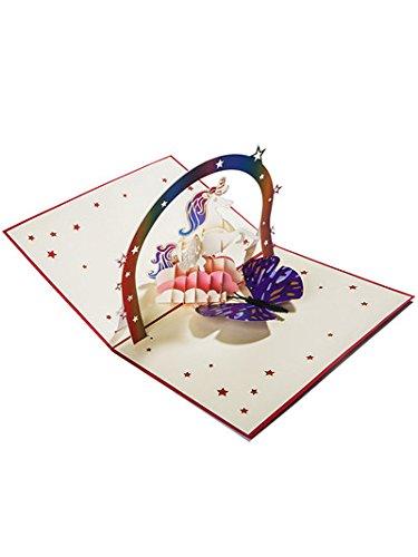 Meiyaa 3d unicorno e arcobaleno ponte della cartolina d' auguri pop up per per compleanno, festa della mamma, festa del papà, natale, anniversario, matrimonio, thank you