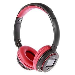 WR MP3 FM On-Ear Casque Bluetooth avec microphone, fente pour carte TF, l'écran LCD (rouge, noir)