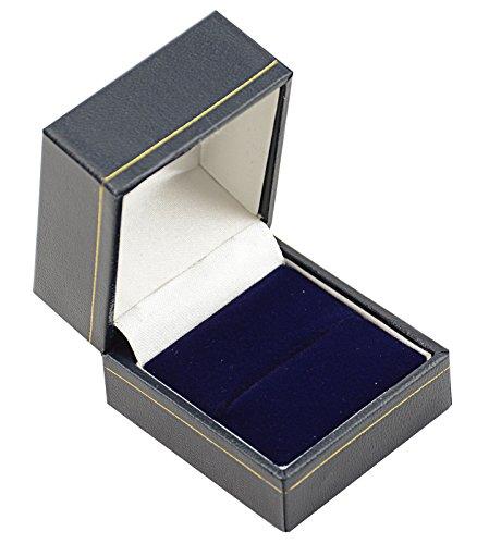 STUNNING BLUE LEATHERETTE RING BOX WITH VELVET INSERT & GOLD TRIM ... - Stud-trim Leder