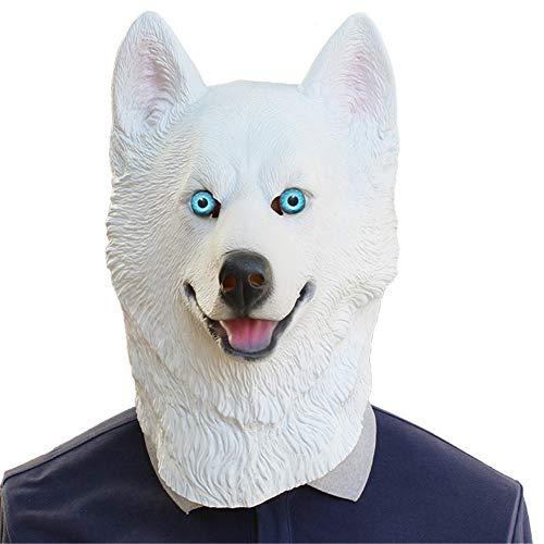 QNFNB Hund Latex Tier Kopfmaske für Halloween Neuheit Kostüm-Party