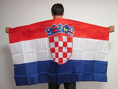 Kroatische Flagge (UMHANGFLAGGE KROATIEN 150x90cm - KROATISCHE CAPE FAHNE 90 x 150 cm - flaggen AZ FLAG)