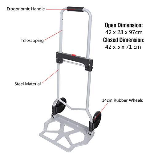 Sackkarre Handkarre klappbar Transportkarre belastbar bis 110lbs Alu-Gepäckwagen Einkaufswagen Trolley Tragbar