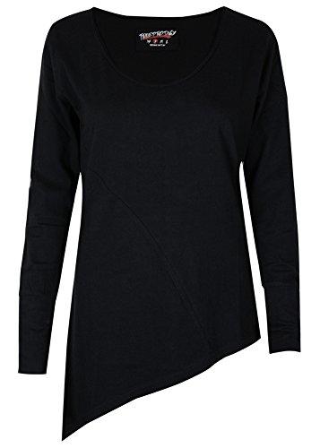 trueprodigy Casual Damen Marken Long Sleeve einfarbig Basic, Oberteil cool und stylisch mit V-Ausschnitt (Langarm & Slim Fit), Top für Frauen in Farbe: Schwarz 1063174-2999-S
